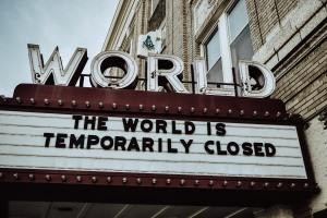 The World Theater sign